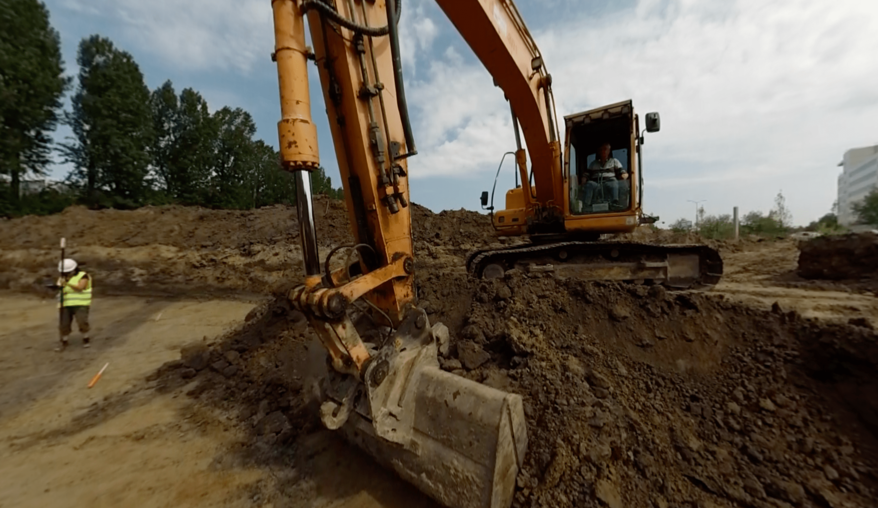 Hazardous factors are shown in the application as well such as this excavator taking care of taking of another layer of soil from the trench.