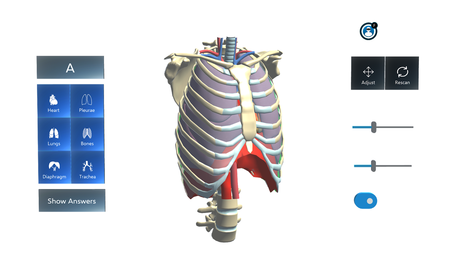 Impression of the Augmedicine, Lung Cases' visual user interface