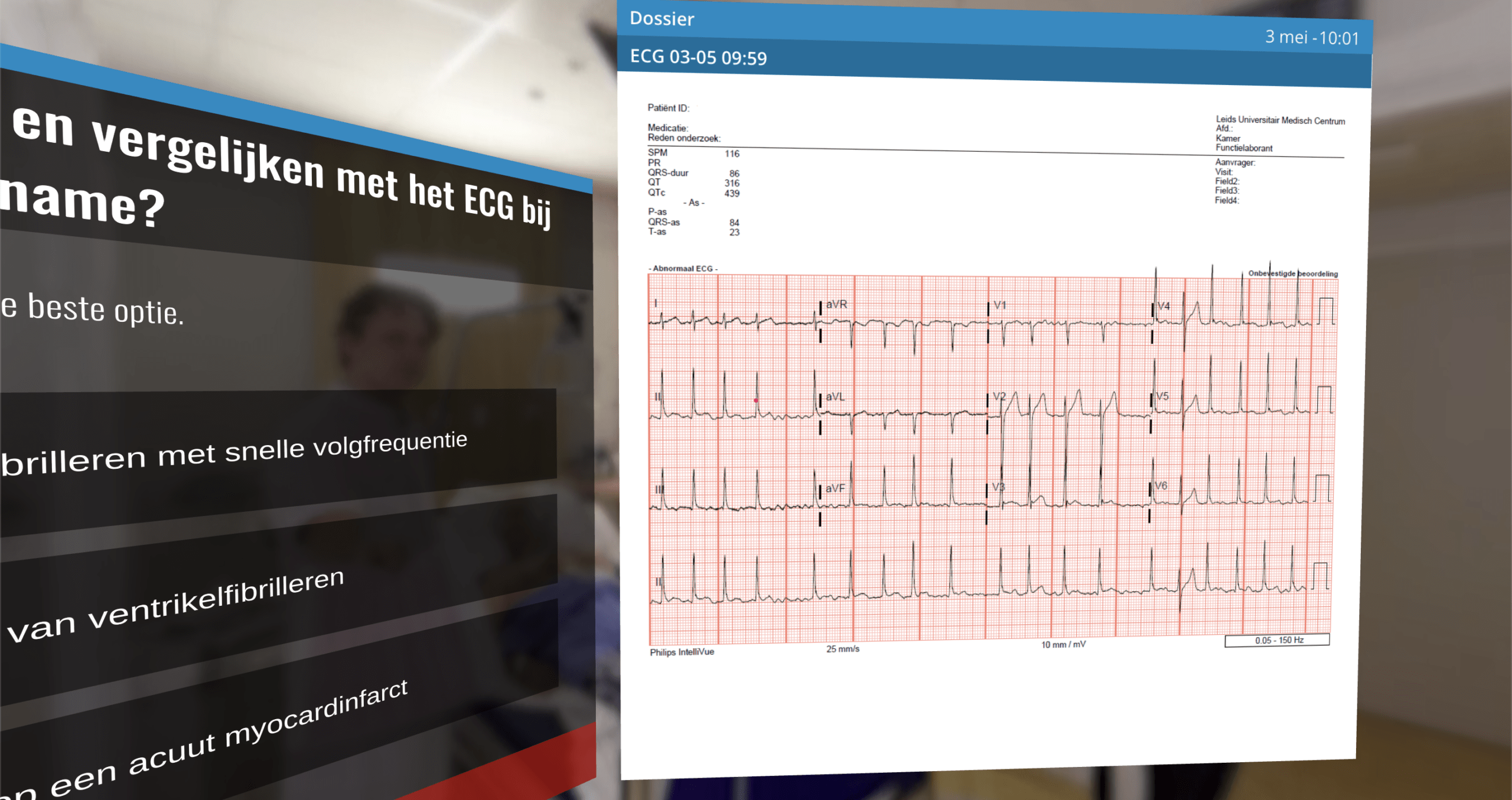 Users can choose to consult elements from the patient's Electronic Health Record, such as ECG's captured.